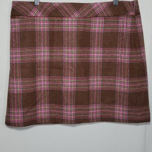 Joules Wool Heather Tweed Plaid Mini Skirt